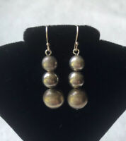 #713 Dangle Earrings, Vintage Bench Beads, Sterling Silver 925, Hooks Wires 925