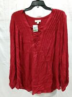 Style & Co Solid Laced Up Vneck Blouse Canyon Red LARGE