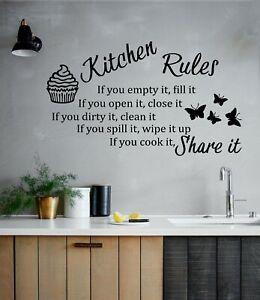 Kitchen Rules Wall Art Vinyl Sticker - Modern Quote Home Decor
