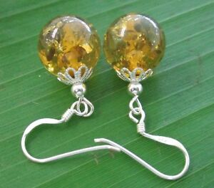 100% 925 sterling silver 12mmx30mm Green Amber Eyer Hook Earrings GIRL WOMEN