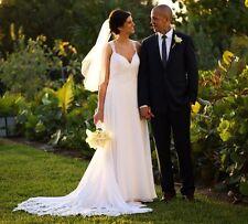 Essense of Australia Beach Wedding Dress D1962 White Sleeveless Lace Back Sz 12