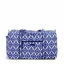 1e02b5f585 Vera Bradley Large Duffel Marrakesh Motifs Blue Suitcase Duffle Bag Tote