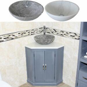 Grey Painted Bathroom Vanity Unit Free Standing Corner White Quartz Marble Basin