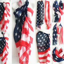 New Womens American Flag Pareo Sarong Beach Bikini Swimwear Cover Up Scarf Wraps