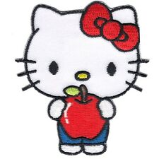 Hello Kitty Holding Apple Kids Cartoon Iron On Embroidered Applique Patch