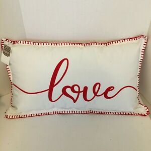 VALENTINE White Pillow Red LOVE Puff Embroidered Lettering Red Check Back NEW