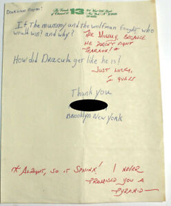 Letter to Famous Monsters with Forrest J Ackerman Comments 1970's