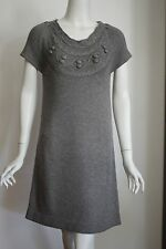 A30 Women's fancy design short sleeves knit dress A-line wool blend SZ S NWT