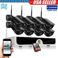 8CH 1080P Wireless HDMI NVR Outdoor WIFI Home Security IP Camera System CCTV HDD
