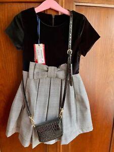 Lapin House Dress NWT Black Velvet Plaid Size 8 128cm New Winter 2020
