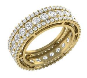 Eternity Wedding Ring Natural Diamond SI1 G 4.00 Carat 14K Yellow Gold Appraisal