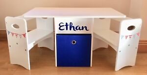 Children's Table & Chairs with Storage Box In Red,White & Blue Bunting