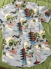 FIREFLY Mens Hawaiian Shirt Wash Sz S dinosaurs SERENITY blue
