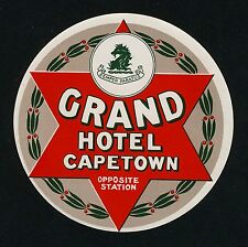 Grand Hôtel Cape Town station/South Africa * OLD LUGGAGE LABEL Valise Autocollant