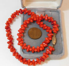 "Vintage Simulated Red Coral Poured Glass Bead 15"" Choker Necklace 7g 97"