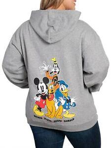 Disney Womens Mickey Mouse Goofy Donald Pluto Zippered Hoodie Sweatshirt Gray