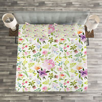 Watercolor Quilted Bedspread & Pillow Shams Set, Gentle Spring Floral Print