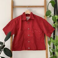 Levi's Womens Red Altered Cropped Button Up Short Sleeve Shirt Top Size M
