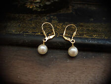 Vintage Style 8mm Pearl Drop Hook Pierced Earrings Gold Plated
