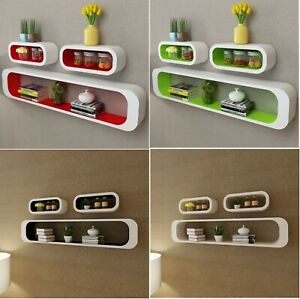 3pc 30-95cm Wooden Cube Floating Wall Bookshelf Display Storage Shelf Shelves