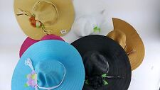 6 PACK LOT LADIES FLOPPY SUN HAT BEACH GARDENING ASSORTED COLORS DRESS MATCH