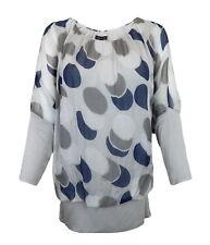 Blusa 42 44 gris azul puntos seda viscosa made in italy ella Jonte m-l new en