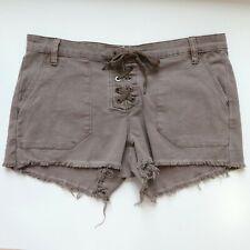 BlankNYC Jeans Shorts Womens Lace-Up W27 Raw Hem Taupe Tan Brown Denim