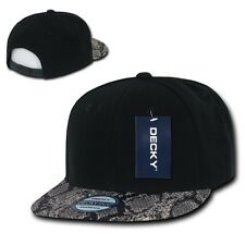 Black Snake Animal Print Flat Bill Snapback Baseball Ball Cap Caps Hat Hats