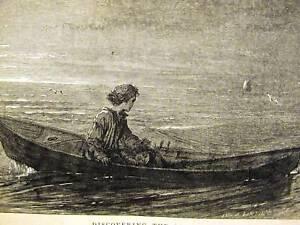 Eytinge CHILD BOY IN ROWBOAT 1867 Antique Print Matted