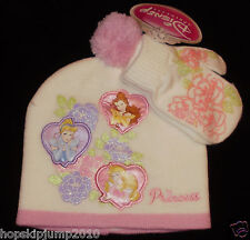 Disney PRINCESS Cinderella Belle Aurora Girls KNIT HAT BEANIE & MITTENS ~ NWT