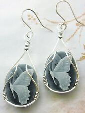 Butterfly Cameo  925 Sterling Silver SS Earrings