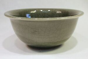 "Beautiful Celadon Crackle Porcelain Bowl 10"" Diameter"