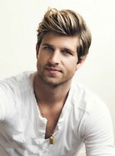 Custom Handsome Short Straight Hairstyle Men's Wig Blonde