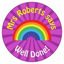 80 Personalised Teacher Reward Stickers for Pupils Purple Rainbow Well Done