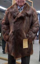 """Man's Rust Long Hair Beaver 35"""" Carcoat - Size 44US"""