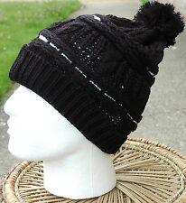 Mens Ladies Unisex Funky Knitted Winter Woollen Bobble Beanie Hat Black C036.A