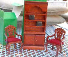 2  Wooden Doll Chairs Red Velvet Cushions and Bookcase-In Box
