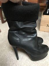 Carvela High Heel Platform Ribbed Top Ankle Boot 38