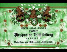 """ETIQUETTE ANCIENNE de VIN """"DIESPORTER MICHELSBERG"""" de LEIWEN en 1964"""