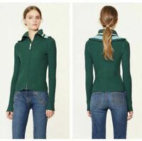 Tory Burch Noland Zip-Front Ribbed Cardigan Sweater Full Zip Up Knit Sz XL