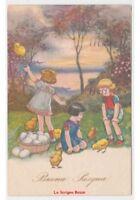 1935 Tarjeta Postal Baby Fp Degami Pascua Juegos en Césped Niños Pollitos Huevos