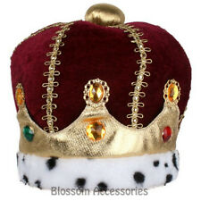 A820 Burgundy Velvet Crown Jewels Royal King Queen Medieval Costume Accesory