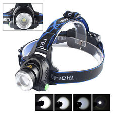10000LM Zoomable XM-L T6 LED 18650 Tactical Military HeadLamp HeadLight Light