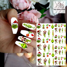 WATERSLIDE NAIL DECALS GRINCH STOLE CHRISTMAS FESTIVE WATER TRASFER STICKERS