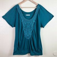 Maurices Women's Plus 20 Teal Short Sleeve Lace Neckline Stretchy Blouse Top