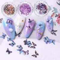 12 Color Butterfly Shape Nail Flakes 3D Holo Laser Glitter Sequin Nail Art Decor
