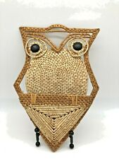"Vintage Rattan Basket Weave Owl Mail Carrier Holder 17""x8"" READ"