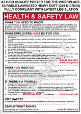 HEALTH AND & SAFETY WORKPLACE A3 POSTER SIGN HSE 2016 LAW SHOP OFFICE FACTORY