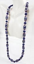 Chunky Lampwork Beads Necklace Beaded Cobalt Blue White Silver Geometric Desgin