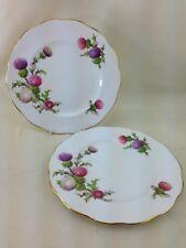 "2 Vintage Queen Anne Bone China Dundee Thistle 8"" Salad / Dessert Plate"